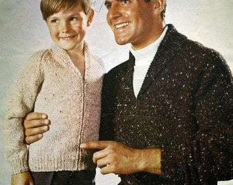 Bellmans 1046 knitting pattern for Boys and Men's Cardigan / Jumper Sizes 26 to 44
