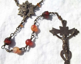 Sacred Heart Wire Wrapped Heirloom Rosary