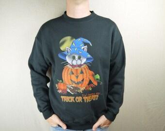 Vintage Halloween Cat and Pumpkin Trick or Treat Sweatshirt
