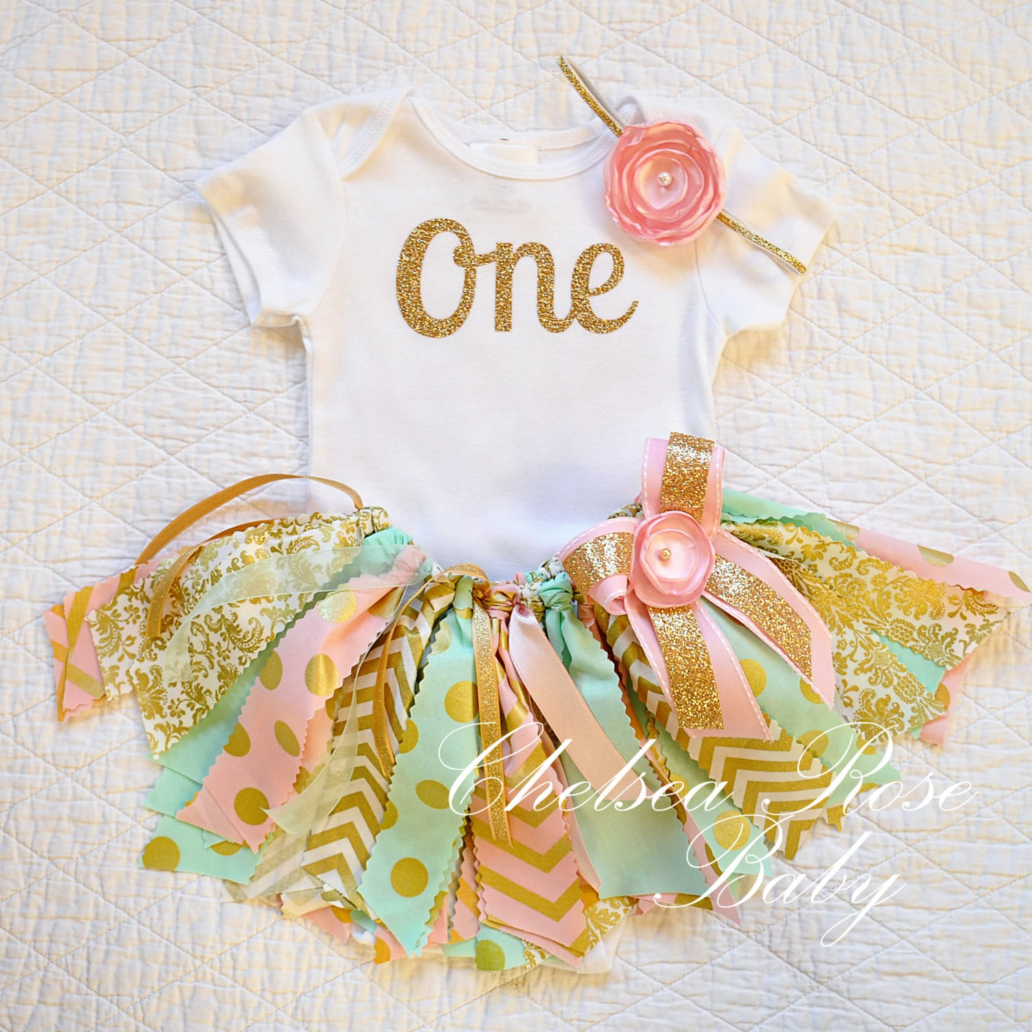 Pink Mint Gold Fabric Tutu Outfit First Birthday Tutu Set