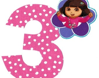 DIY Dora applique and pick any number iron on applique