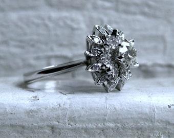 Vintage 18K White Gold Diamond Cluster Engagement Ring - 1.23ct.