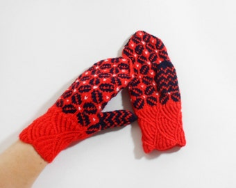 Hand Knitted Mittens - Christmas Gift,Red and Black, Size Medium