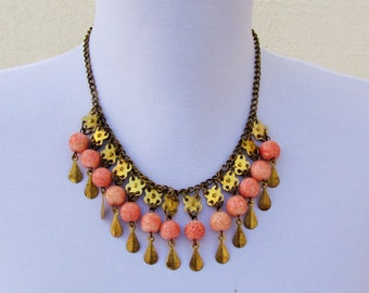 Vintage coral and brass bib necklace, c.1930's sponge coral fringe necklace