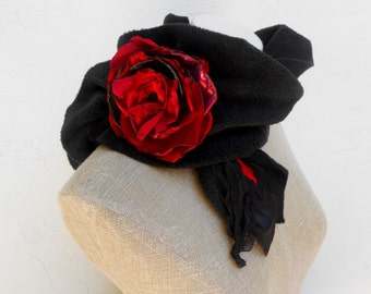 Soft Fleece Black Scarf with a Gorgeous Red Flower.