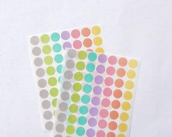 Small Circle Stickers, Round Stickers, Pastel/Colorful/Multicolor Paper Stickers, Size 16mm, Set of 2 sheets or 126 stickers