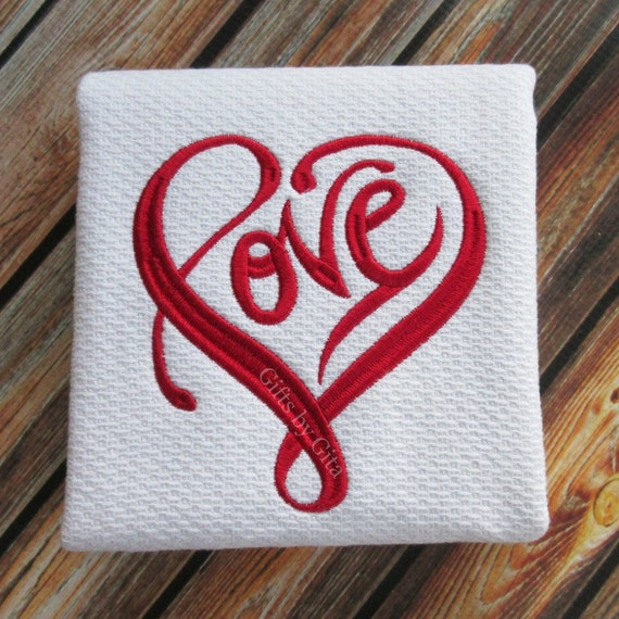 Embroidered Towels For Wedding Gift: Embroidered 'LOVE' Towel Pefect Anniversary Gift Or