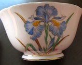 Blue Iris Open Sugar Bowl, Tuscan Fine Bone China made in England