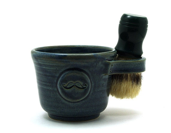 Blue Mustache Shaving Mug, Shave Mug Handmade Pottery Fathers Day Husband Gift - Ready to Ship by MiriHardyPottery - Brush NOT Included
