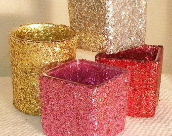 Square Votive Candle Holder for Weddings, Parties, Receptions, Square glam glitter Votive ~ 1 p/o
