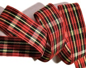 "Wallace Plaid 7/8 "" x 3 yards - Red, Black, Yellow -Rayon/Cotton"