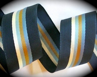 "Striped Ribbon - 1 3/4"" x 2 yards - Navy and Lt. Blue - Vintage Stripes - SALE"