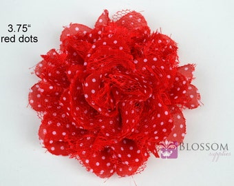 RED Dots Flowers - The Charlotte Collection - Small Shabby Chiffon and Lace Puff - DIY - Fabric Flower Head Blossom Supplies Valentine's Day
