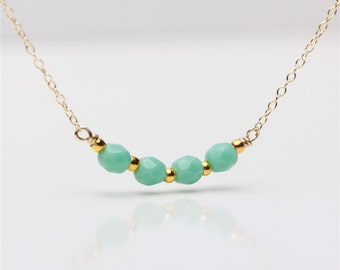 Delicate everyday fresh mint faceted Czech beaded Gold necklace available in gold or silver