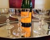 4 Vintage Champagne Coupes Set of 4 Vintage Cocktail Glasses with D Monogram