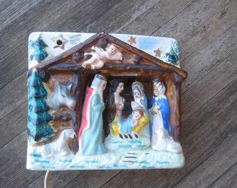 Rare Vintage Light Up Creche - Ceramic Lighted Nativity; Made in Japan - Tabletop Lighted Christmas Manger Scene
