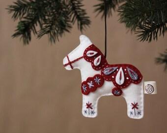 Nikkie's Felt Dala Horse Christmas Ornament-White
