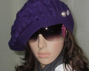 Slouchy beanie Knitted hat  Winter Hat - knitted hat - Womens Hat ---bling  Rhinestone - crystal buttons purple - green