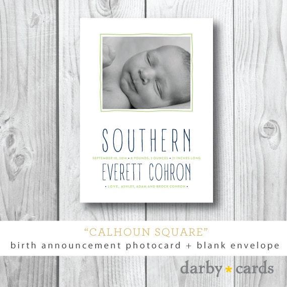 Calhoun Square Printed Birth Announcements – Printed Birth Announcements