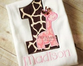 Pink Giraffe Birthday shirt-Giraffe Birthday onesie-giraffe birthday shirts-Giraffe Personalized birthday shirts-Zoo birthday party
