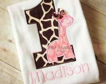 Pink Giraffe Birthday shirt-Giraffe Birthday onesie-giraffe birthday shirts-Giraffe Personalized birthday shirts-Zoo birthday party