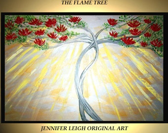 "Original Large Abstract Painting Modern Acrylic Oil Painting Canvas Art Silver Gold Red Flame Tree  36x24"" Palette Knife Texture  J.LEIGH"