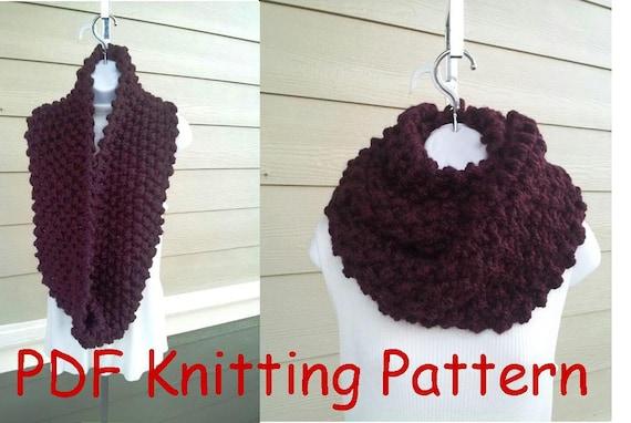 Free Mens Hat Knitting Pattern : Super Cozy Infinity Scarf PDF KNITTING PATTERN beginner