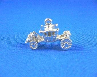 Royal Carriage, Princess Bracelet Charm - Sterling Silver Vintage Charm