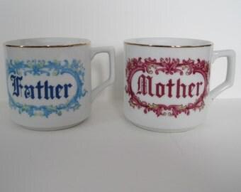 Vintage Set of Father Mother Mugs