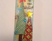 Christmas Mixed Media Canvas, Joy to the World, 4x12