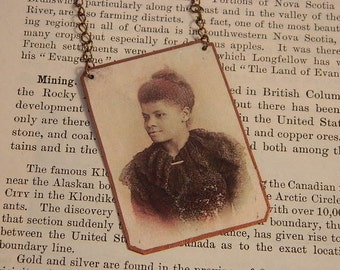 Ida B Wells necklace African American Journalist  mixed media jewelry