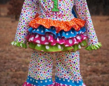 Rainbow Outfit - Birthda Outfit - Ruffle Outfit - Pageant Outfit - Outfit of Choice - Polka Dot Outfit - Hairbow 6m 12m 18m 2T 3T 4 5 6 7 8
