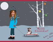 Digital, printable, Christmas,card,photo,single,dog, fun