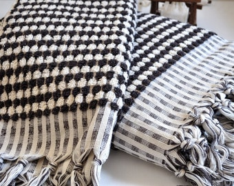 Peshtemal style Turkish Terry towel and hand towel Set of 2 in Ivory Dark Coffee Cotton Hand Loomed pure soft