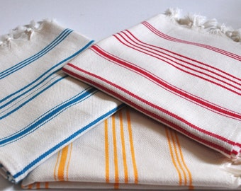 Handwoven Hand Towel Peshkir  st of 3 in Ivory Teal , Oranfe , Red Color 45 x 90 cm