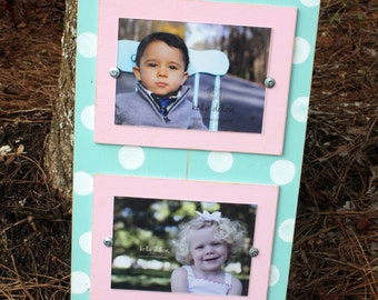 Distressed Picture Frame, Perfect Baby Gift, Polka Dot Frame, Double 5x7 Frame, Aqua Picture Frame