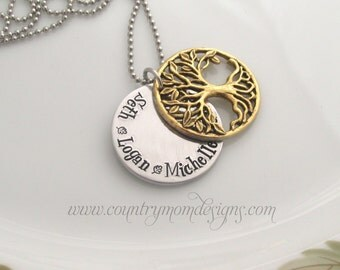 Family Tree Hand Stamped Necklace Antique Gold Layered Necklace (bc)