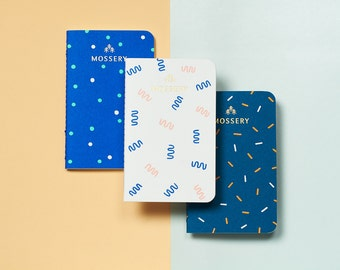 FREE SHIPPING Confetti Series (Confetti, Ribbons, Dots) Pocket Notebooks, Set of 3