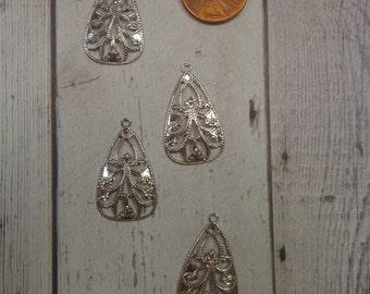 Vintage 27 x 16mm rhodium plated Brass Filigree Drop (4)