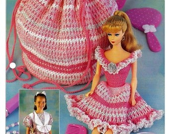 Dolly Dress Purse Fashion doll  Annies Fashion Doll Crochet Pattern Club FCC05-01