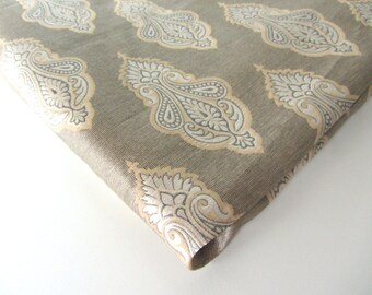 SALE Pastel grey tan white silk on silk brocade from India fabric nr 504 REMNANT