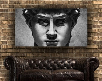 Giant David Face, Ready to Hang - Large Gallery Wrap Canvas, Three colors and sizes to choose, FREE SHIPPING USA!