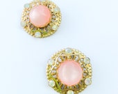 Coro Earrings, Pink Thermoset Clip Earrings 1940s Vintage Jewelry, Gift for Her
