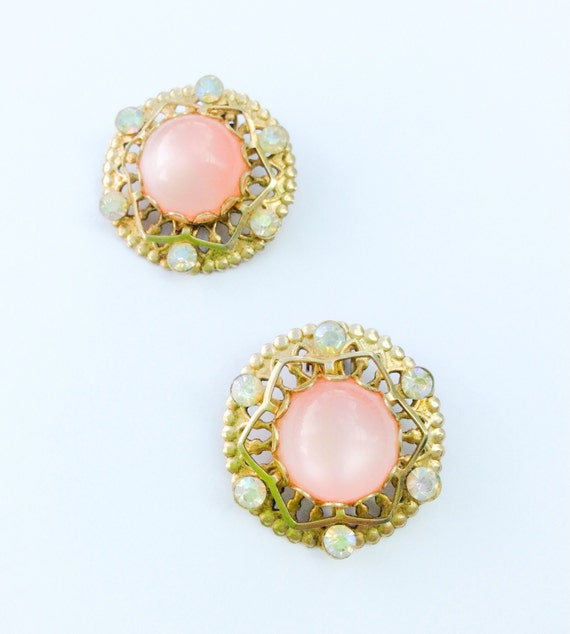 Pink Thermoset Clip Earrings, Coro, Early Design, 1940s Vintage Jewelry CHRISTMAS IN JULY Sale
