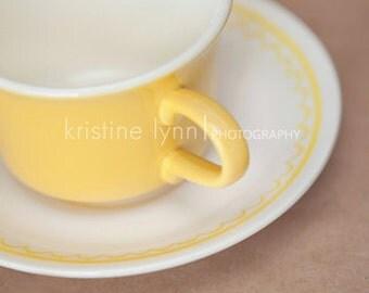 5x5 print, wall decor, tea cup, vintage, yellow, cup, color print, fine art photograph