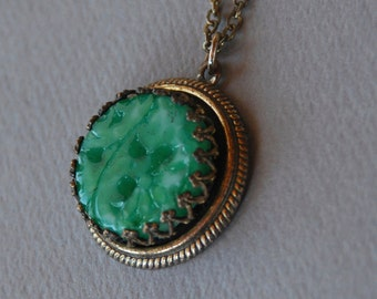 Vintage Peking Glass Pendant Necklace Faux Carved Green Jade Art Deco Revival 1960's // Vintage Costume Jewelry