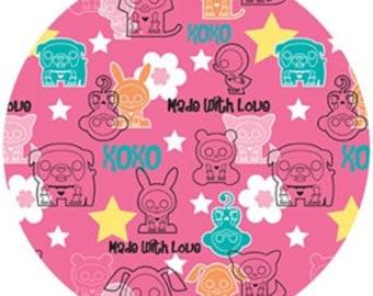 """Skelanimals fabric - Heartbreaker in Pink -24""""x44"""""""