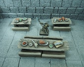 Miniature Tables Set - Wooden Tables and Chairs with Foods and Utensils