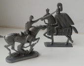 2 vintage old soviet plastic toy soldier - riders - Crusader and Budenovets
