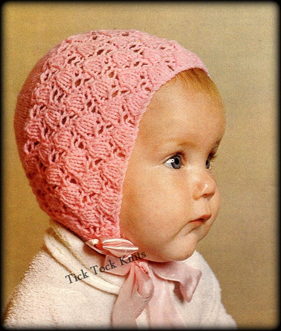 No.349 Baby Bonnet Knitting Pattern PDF Vintage Tulip Lace